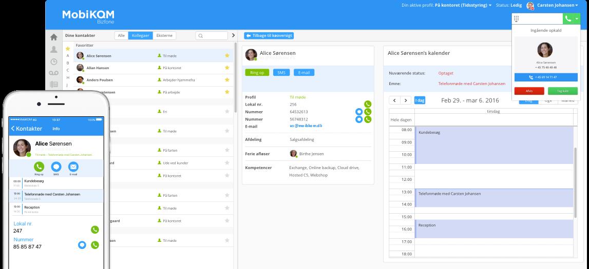 MobiKOM – Bizfone telefoniløsning – Browser & app